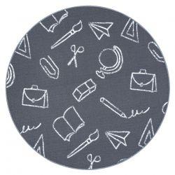 Teppich für Kinder SCHOOL Kreis Schule grau