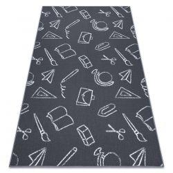 Teppich für Kinder SCHOOL Schule grau