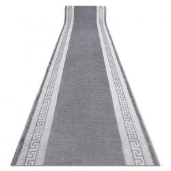 Läufer Strukturell MEFE 2813 Rahmen, griechischer Schlüssel zwei Ebenen aus Vlies grau
